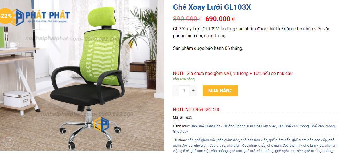 Phát Phát có hơn + 100 mẫu ghế xoay giá rẻ, chất lượng cao